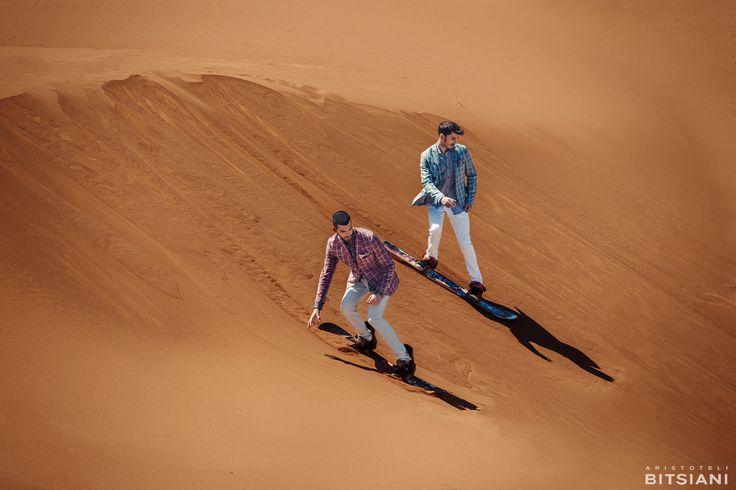 Official campaign of Spring/Summer 2015 collection #aristotelibitsiani #erimos #sandboarding #fashionshooting