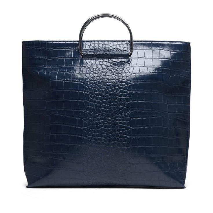 Blauwe handtas met croco print