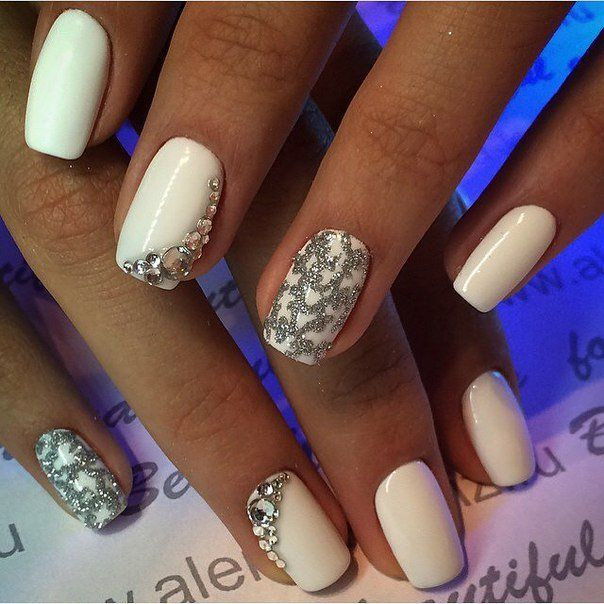 It is a great option of design nails for pretty Snow Maidens. The winter is coming and the variants of winter design become more actually: a milky-white co