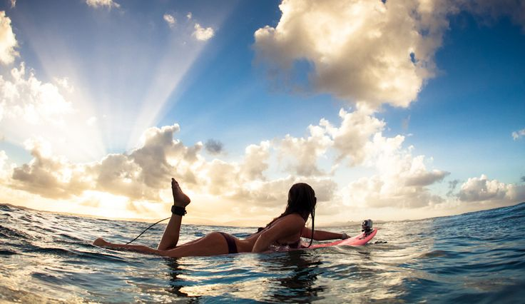 Alison Teal visiting from Hawaii. Sunset paddle at The Pass, Byron Bay. Image: Frings