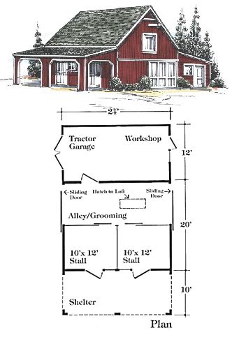 Barn plans and outbuildings woodworking projects plans for Two stall barn plans