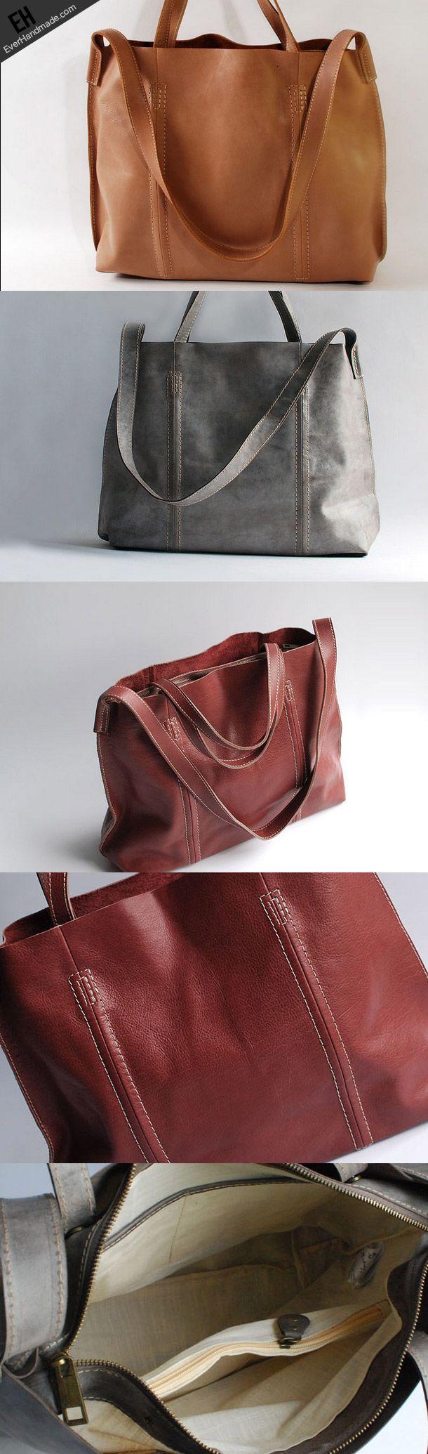 Handmade vintage fashion pretty leather big tote bag shoulder bag hand   EverHandmade