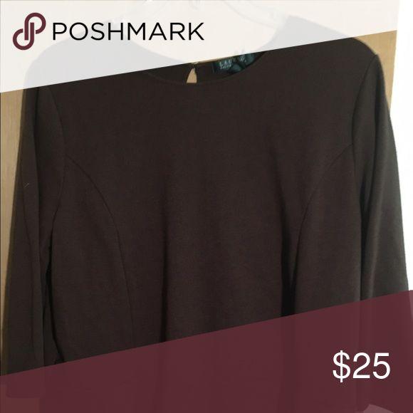 Raph Lauren Brown Peplum ladies Shirt Ralph Lauren Peplum woman's blouse. Gently used. Ralph Lauren Tops