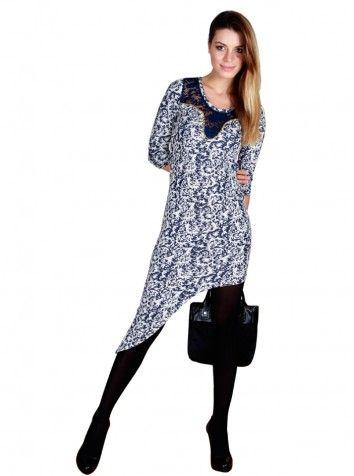 Özel İşlemeli Asimetrik Elbise