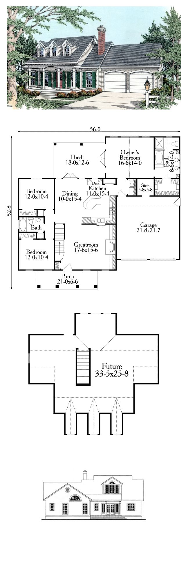 Cape cod country house plan 40029 house plans cape cod for Country home designs floor plans