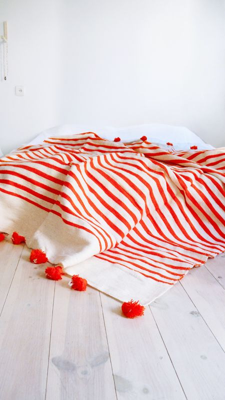 Image of Moroccan POM POM Wool Blanket - Orange Stripes by Muima