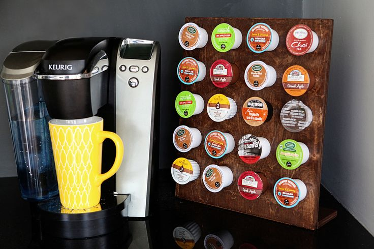 It's the K-cup holder made of two pieces of wood.  It's so freaking simple that it's kinda ridiculous.  If you have a Keurig….you need to craft this bad boy. @katiebower tells us how! http://www.rustoleum.com/en/product-catalog/consumer-brands/varathane/varathane-fast-dry-wood-stain