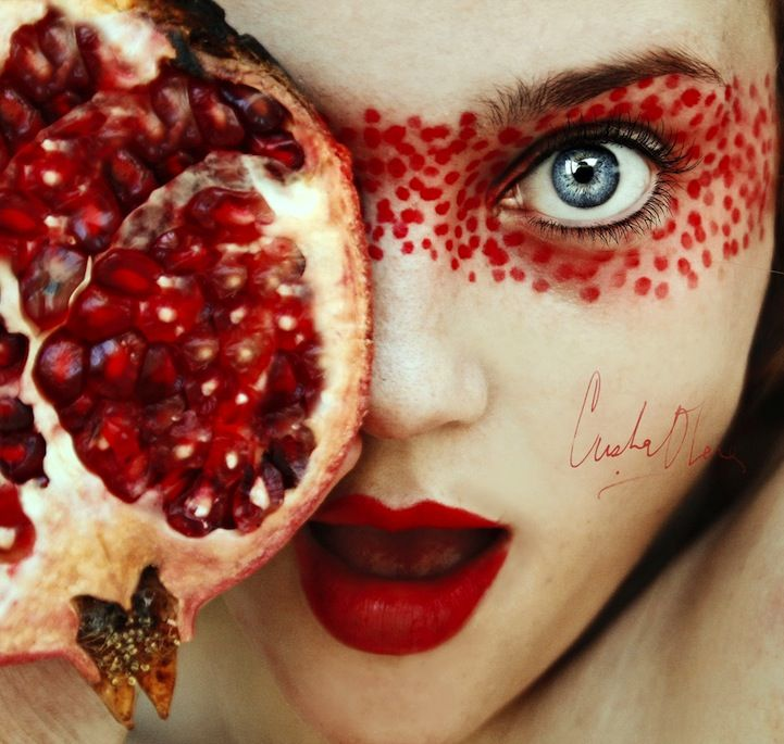 Self portraits with fruit. This girl looks incredible in all of them. Definitely click through to the link!