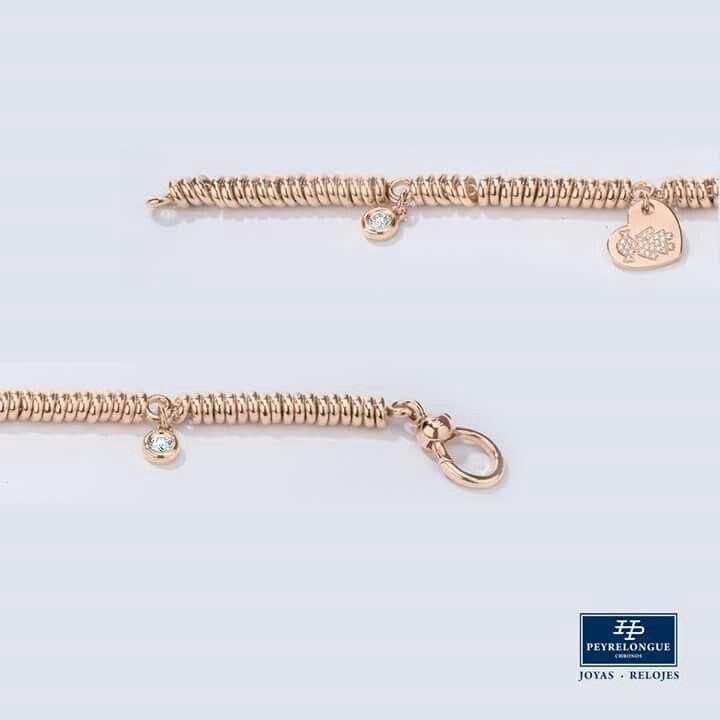 #JoyasPeyrelongue  Pulsera de cuentas movibles en oro rosa con dijes, diamantes redondos a bisel y corazón con niña. #jewelry / #luxury / #newchic / #fancy / #elegant / #joyas / #style / #cute