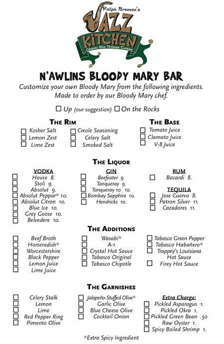 Bloody Mary Bar menu at Ralph Brennan's Jazz Kitchen - #Disneyland Downtown #Disney