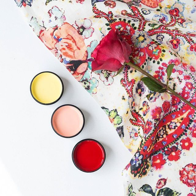 Colour palette inspo with  testpots from top in Resene Energy Yellow, Resene New York Pink and Resene Red Berry. Kiraly fabric by @designofthetime @welovefabric #Resenelovesmoodboards #inspiredbyfabric #Resene #jamesdunloptextiles #blooms #floralshades #testpots
