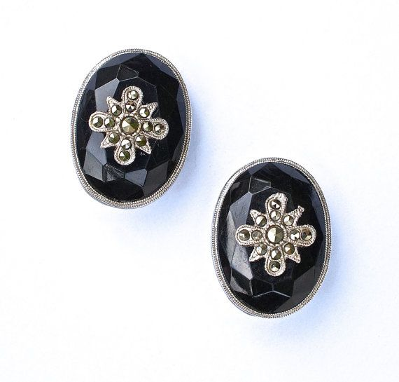 Marcasite Mourning Star Earrings Victorian by silvermoonstars