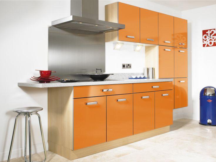 Best 18 Inspiring Orange Kitchen Design Ideas : Moderna Gloss White Walls Kitchen Design with Orange Kitchen Cabinet and Marble Countertop