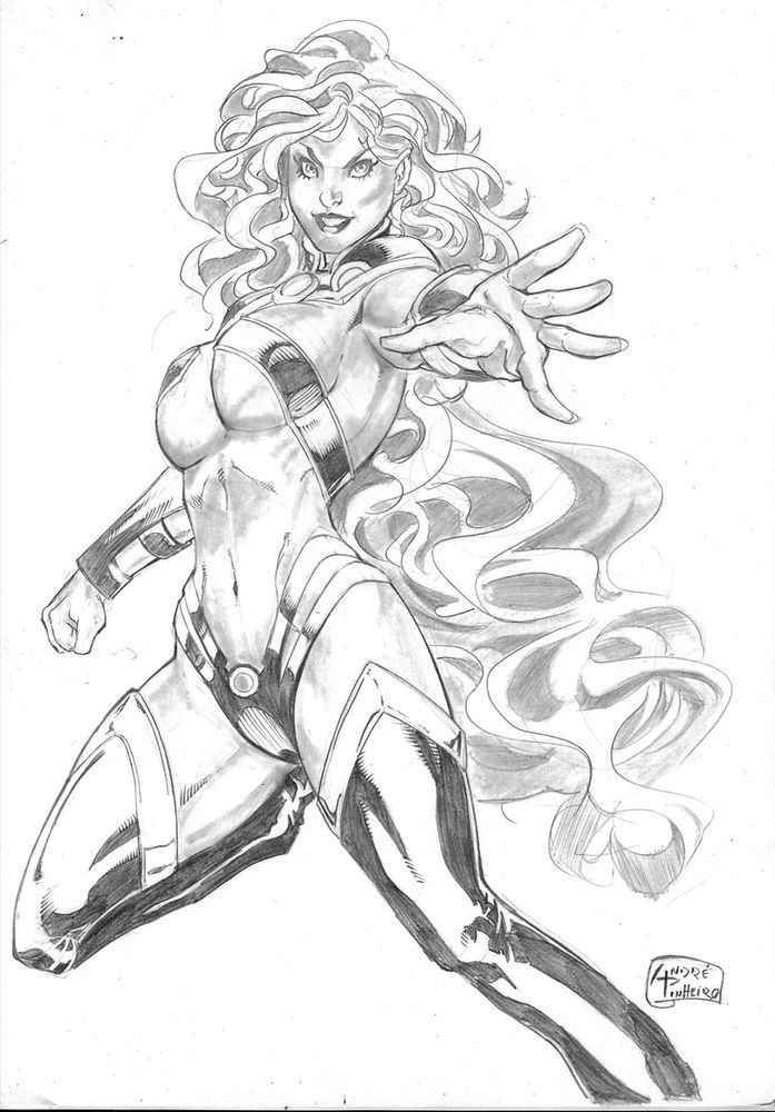 Starfire pencil page - original amazing pinup art by andre ...