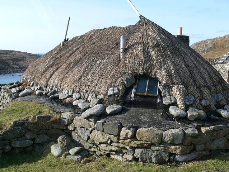 Traditional crofts in the Isle of Lewis in the Outer Hebrides off Scotland have been preserved and renovated as accomodation for visitors to the island.