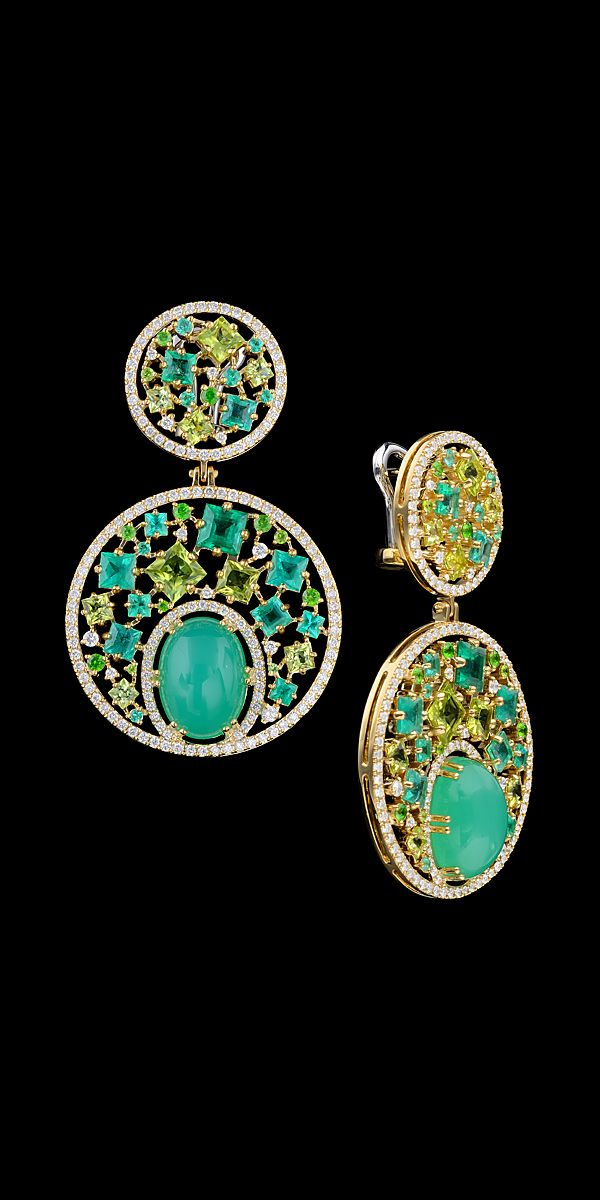 Master Exclusive Jewellery, ear pendants from Kaleidoscope collection, peridot and chrysoprase