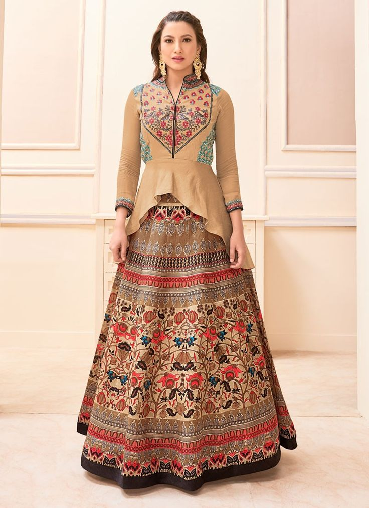 Gauhar Khan Beige Banglori Silk Anarkali Style Suit