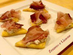 bruschette di polenta con speck e crema di noci   Zenzero e Limone
