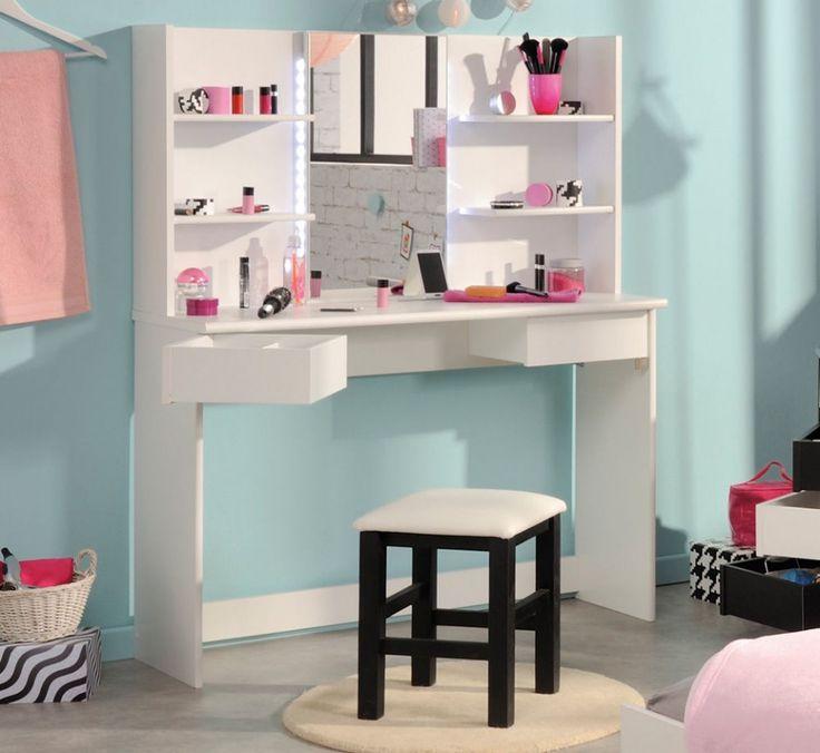 SEA228 - Măsuță de machiaj, oglindă cu led-uri - http://www.emobili.ro/cumpara/sea228-set-masa-alba-toaleta-moderna-cosmetica-machiaj-oglinda-cu-led-960 #eMobili