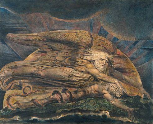 La création d'Adam, par William Blake