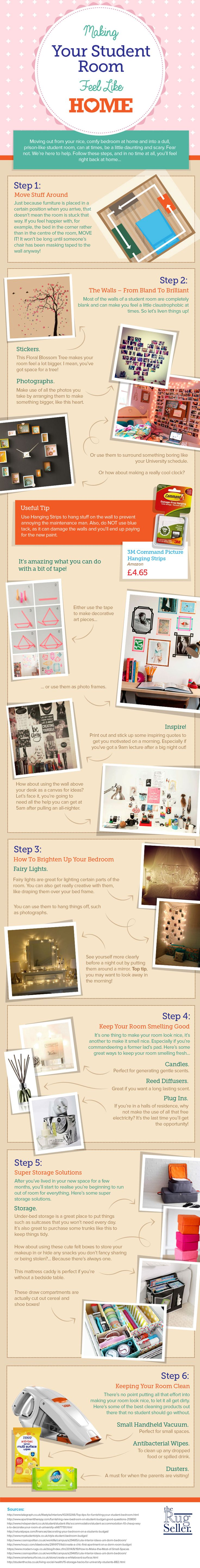Moving out from your nice, comfy bedroom at home and into a dull, prison-like student room, can at times, be a little daunting and scary. However, The Rug Seller has come up with some fantastic ways to instantly make your student space into your new home and put them together in the following infographic.