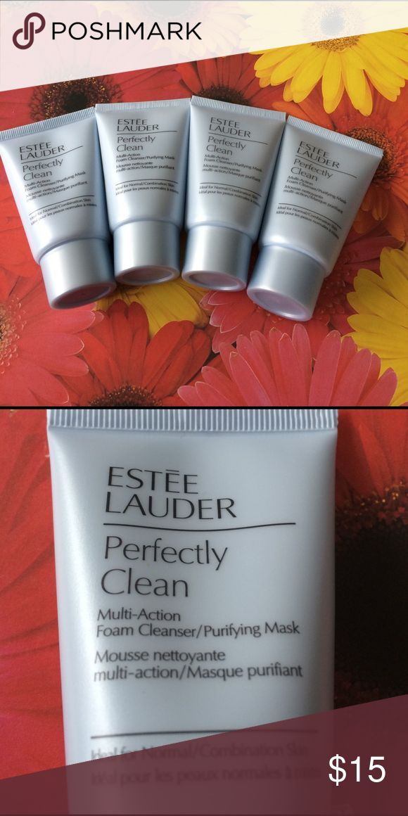 Estée Lauder Perfectly Clean foam cleanser bundle 4 tubes each 1 oz of Estée Lauder perfectly clean muti action foam cleanser/purifying mask. All brand new never opened. No trades price firm Estee Lauder Makeup Face Primer