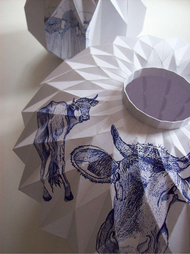 """Paper Delft ware"" Blue and white paper vases by Romy Kühne Design"