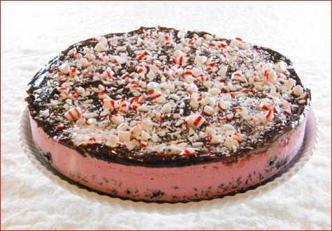peppermint ice cream cake.  So good!  I made mine with homemade peppermint ice cream cake.  Yum!