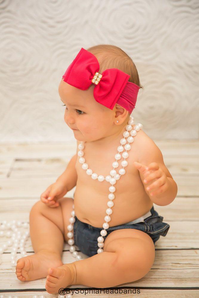 Pink Big Bow Headband Pink Baby Headband Newborn by BySophiaBaby