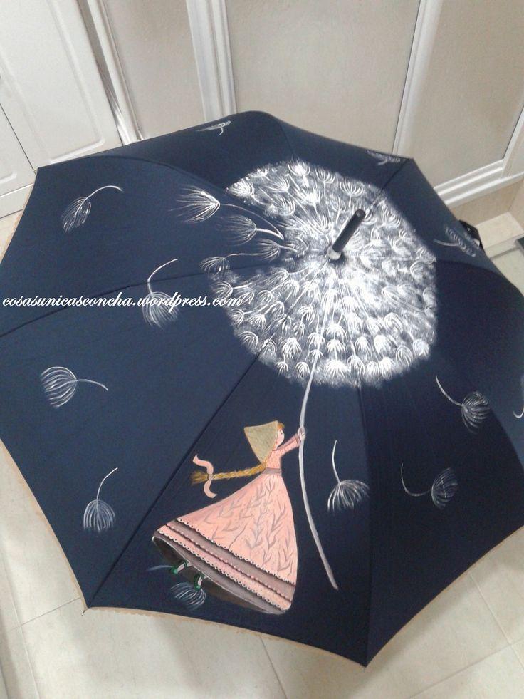 Quería pintar un paraguas con la flor de Diente de León y al ver este dibujo en Pinteres, rápidamente me puse manos a la obra, y a qui está