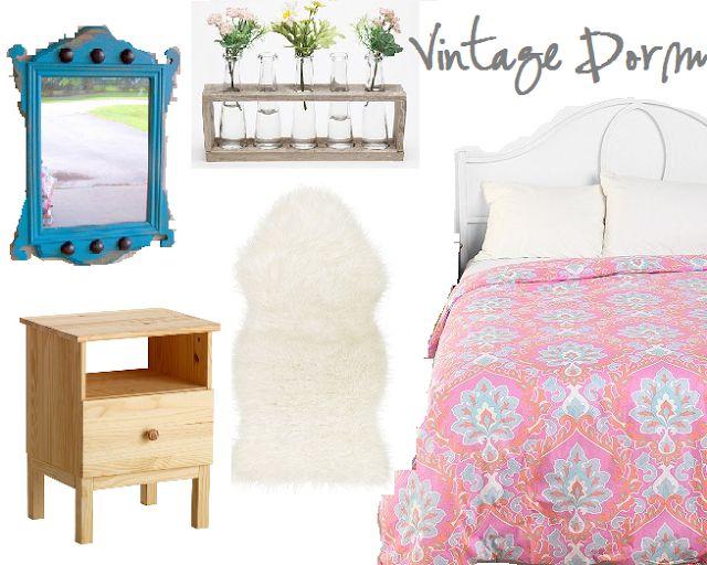 Vintage-inspired dorm decor