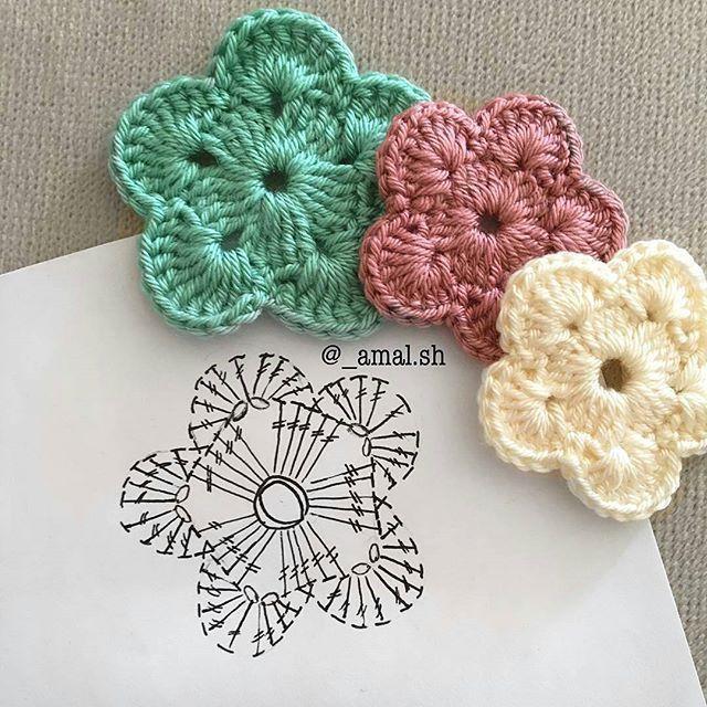 flor de crochê com gráfico Mais
