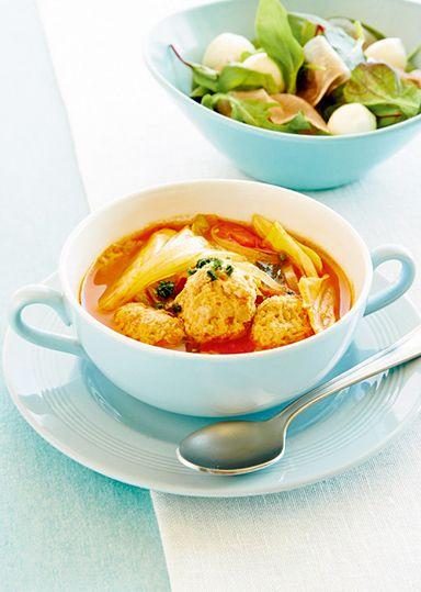 鶏だんごと春キャベツのトマトスープ のレシピ・作り方 │ABCクッキングスタジオのレシピ | 料理教室・スクールならABCクッキングスタジオ