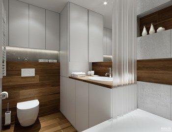 Projekt mieszkania. Kraków Śródmieście - Mała łazienka w bloku, styl nowoczesny - zdjęcie od PRØJEKTYW   Architektura Wnętrz & Design