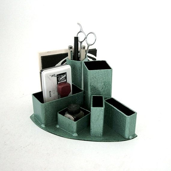 Industrial Desk Organizer Machine Green by citizenobjects on Etsy,
