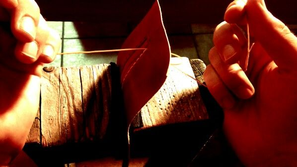 Handmade leather sew