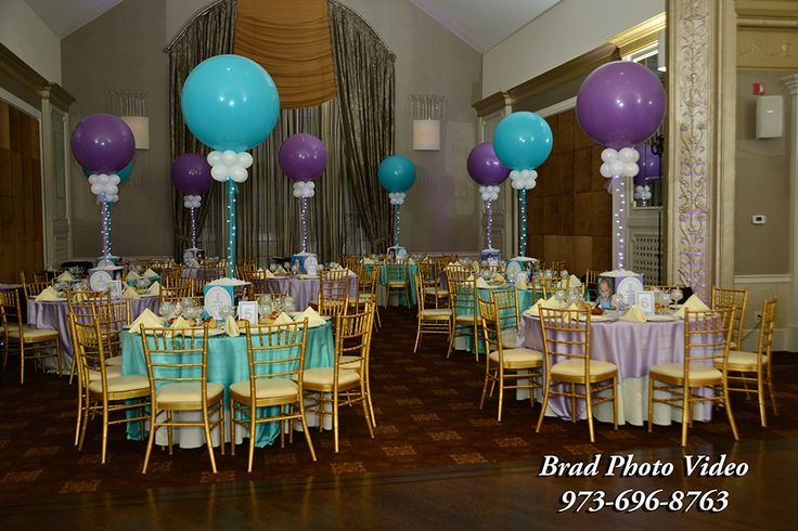 Lavender turquoise bat mitzvah lavender turquoise bat for Balloon decoration los angeles