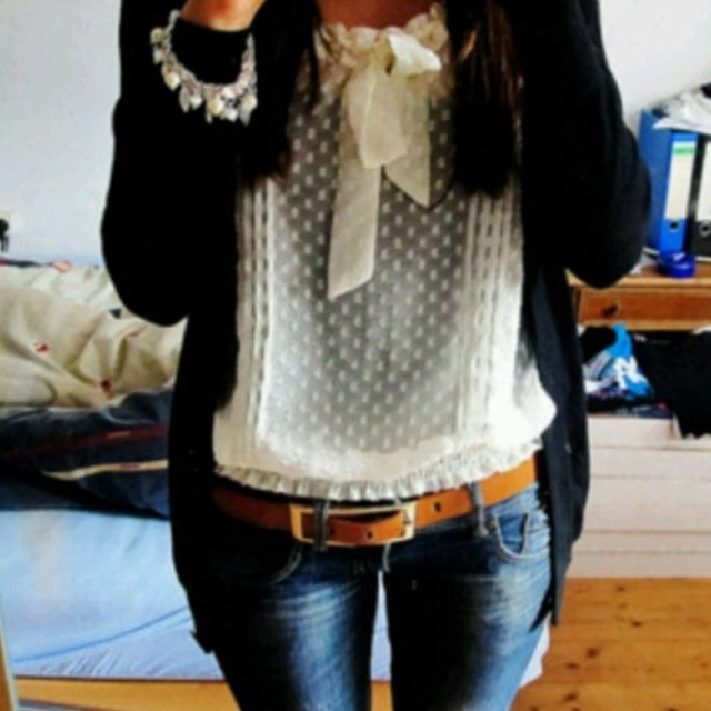 Fashion, Lace Tops, Casual Friday, Polka Dots, Style, Clothing, Black Cardigan, Cute Outfit, Dreams Closets