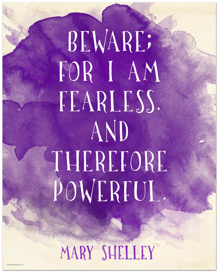 Beware for I am Fearless - Mary Shelley Inspirational Literary Quote from Frankenstein. Fine Art Print For Classroom, Library, Home or Dorm by EchoLiteraryArts on Etsy