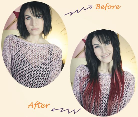 278 best before after hair extensions images on pinterest hair before and after with clip on black and red ombre hair extensions for short hair pmusecretfo Image collections