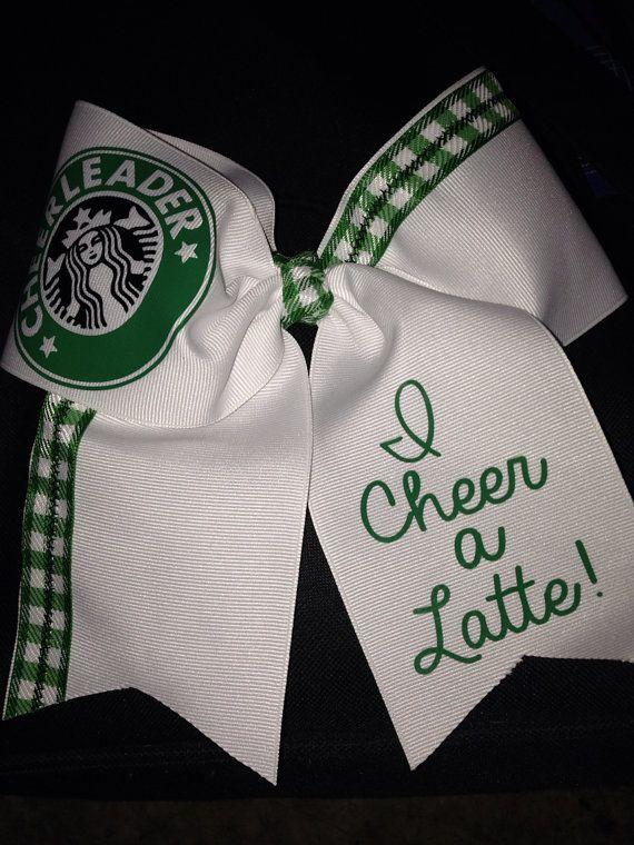 "Starbucks Cheerleader Cheer Bow 3"" Stitched on Etsy, $15.00"