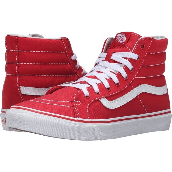 Vans SK8-Hi Slim (Racing Red/True White) Skate Shoes ($48) ❤ liked on Polyvore featuring shoes, sneakers, red, white leather shoes, vans sneakers, red leather sneakers, red sneakers and vans high tops