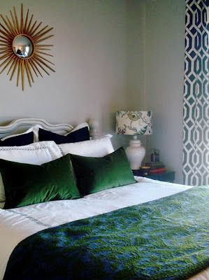 navy & green bedroom