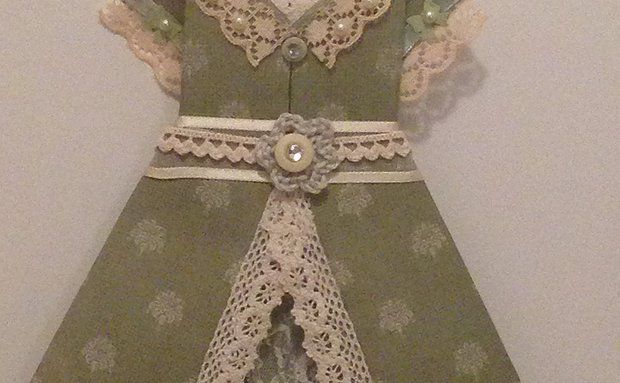 The 'Jade' Can purchase on Etsy Handmade origami dresses - great gifts sold as individuals and in packages, come with rustic twine, miniature pegs for hanging and decoupaged self-adhesive pegs to mount 'clothesline' for display