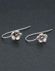 Silver and copper flower earrings on hook fittings