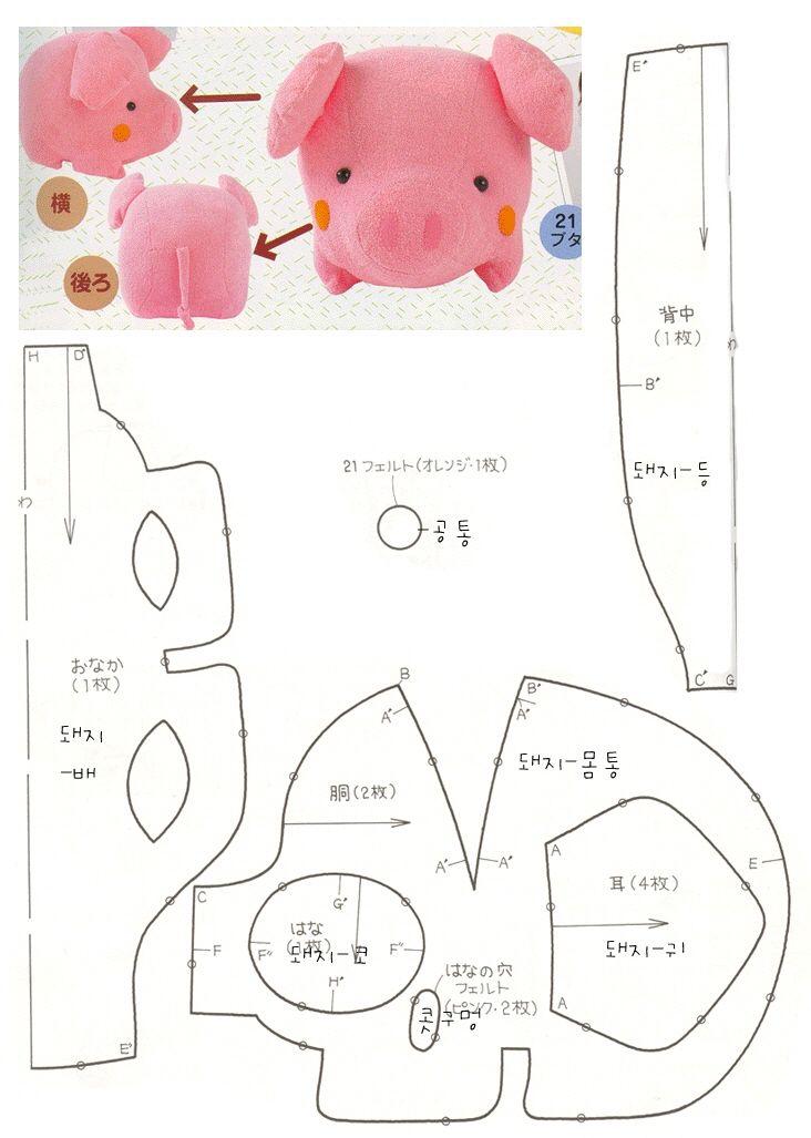Plantilla para hacer un peluche de cerdo en fieltro o tela