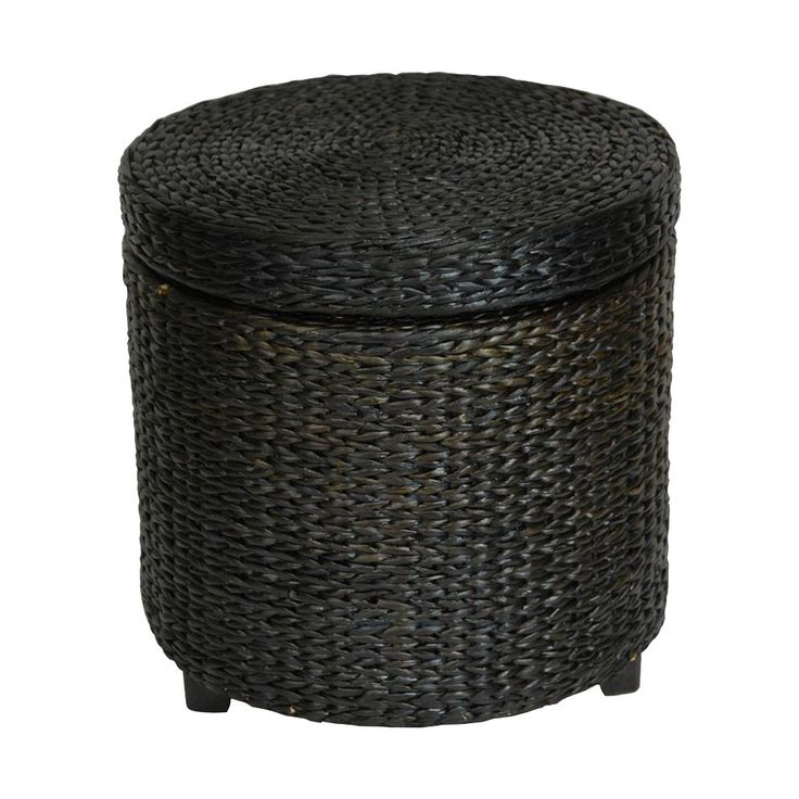 Oriental Furniture FB-STOOL-BLK Rush Grass Storage Footstool | ATG Stores
