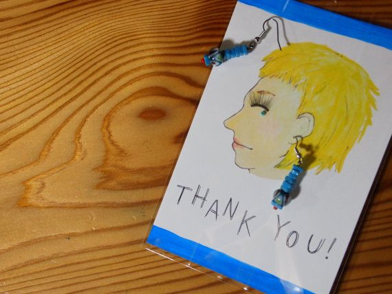 Handmade Postcard and Earrings  BLUE by MrGreener on Etsy, ¥1600