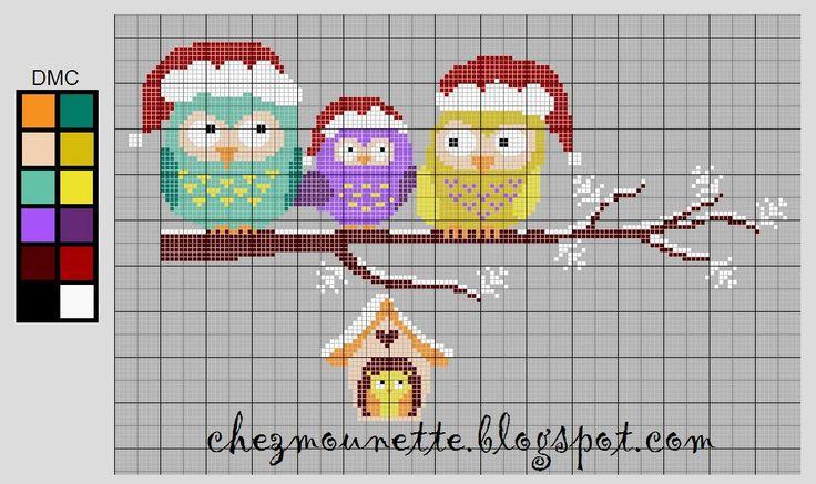 La famille chouette à Noël    Free sur le blog : chezmounette.blogspot.com