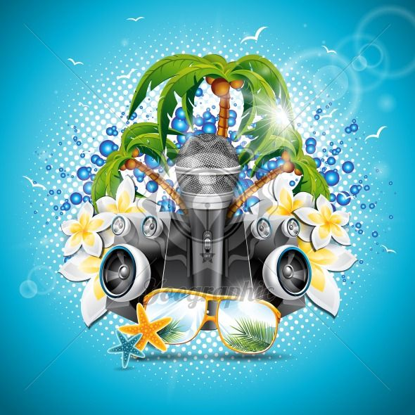 Vector Summer Holiday illustration on a Music and Party theme with speakers and sunglasses on blue background. - Royalty Free Vector Illustration